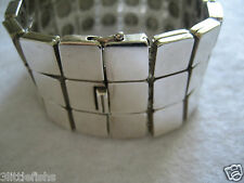 100% Tiffany & Co Sterling Silver Three Rows Small Tile Links Bracelet 7.25""