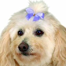 """LOT BOW DOG DOGS Grooming SATIN RIBBON HAIR BOWS w/Rubber band 100 pc pack 5/8"""""""