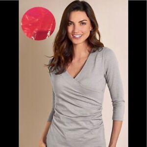 Soft Surroundings Shapely Surplice 3/4 Sleeve Top XS Gray
