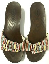 Dr Scholls Slide Sandals MultiColor Striped Buckle Wood-Like Womens Size10