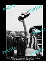OLD 8x6 HISTORICAL PHOTO OF BARRY DAVIS '75 NORTH MELBOURNE FC PREMIERSHIP WIN