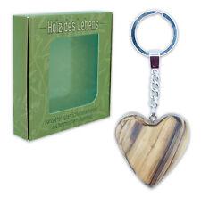 porte-clés cœur pendentif en forme de coeur bois d'Ol ivier sculpté à la main