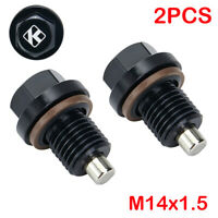2Pcs Universal M14x1.5 Engine Magnetic Oil Pan Drain Plug Screw Nut Bolt Washer