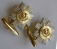 New 9ct Yellow and white Gold SCOTS GUARDS Regiment Men's Cufflinks. Excellent