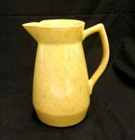 """YELLOW & BROWN WATER WINE ART POTTERY PITCHER 7"""" H X 5.5"""" L X 4.5"""" W SIGNED RJS"""