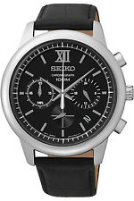 SEIKO SSB139P2,men's chronograph,stainless steel case,leather,100m WR,SSB139P2