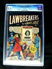 1948 Lawbreakers Always Lose # 1 CGC 5.5 White Pages Atlas Comics Kurtzman Art !