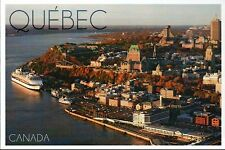 Aerial View of Quebec Canada, Cruise Ship, Carte Postale, Ship - Modern Postcard