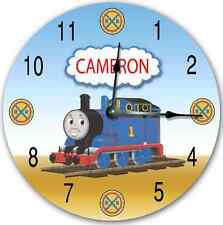THOMAS The TANK Wall Clock, Nursery Art Personalized Custom Room Decor