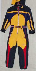 Vintage Obermeyer OBX Black Yellow Ski Snow One Piece Hooded Suit Kids Size:8