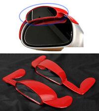 Super Aero Visor Side View Blind Spot Mirror Rain Blower Red For Universal Car