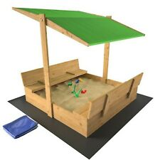 Sandkasten Sandbox SANDWICH MIT SCHUBLADEN + GESCHLOSSENEM SCHILD 120x120cm grün