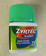 New ZYRTEC Allergy Relief 24hr 70 count 10MG TABLETS Fresh Exp. 02/2019 No Box