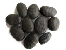 50 Pieces Dull Matte Hand Carved Natural Ebony Wooden Oval Tumble Bead GDS1045/7