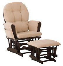 Baby Nursery Glider Rocker Rocking Chair Espresso Finish & with Ottoman NEW