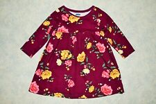 Girls size 12-18 month Old Navy Long Sleeve Maroon Floral Dress