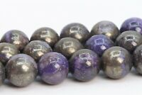 "8MM Natural Purple Pyrite Gemstone Beads Grade AAA Round Loose Beads 15.5"""