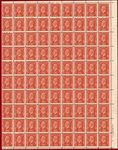 Canada 1932 #192, 3c Red, Partial Sheet of 90, MNH, SCV $202.50