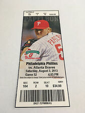 Laynce Nix Last Game Played August 3 2013 8/3/13 Phillies Braves Full Ticket