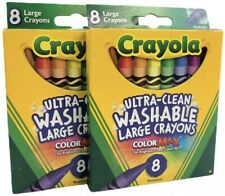 Crayola Large Washable Crayons 8 Colors - 2 Packs, 16 Total Crayons