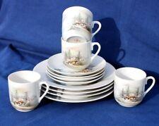 Quattro (4) vintage giapponese Sunrise porcellana dipinti a mano GUSCIO D'UOVO Trio