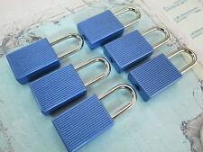 (Lot of 6) Mini Padlock MATT BLUE COLOR Small Tiny Box Lock with Keys - NEW