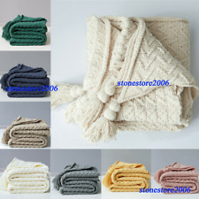 Sofa Blanket Office Nap Shawl Chunky Knit Air Conditioning Blankets Tassel Beds