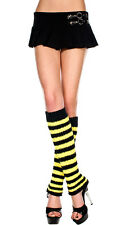 Bee Witch Costume Striped Fuzzy Leg Warmer Knee Hi Boot Socks Black/Yellow/White