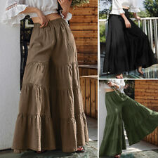 UK Womens Summer Casual Loose Baggy Flare Wide Leg Pants Culottes Skirt Trousers