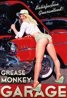 Grease Monkey Garage Pin Up Girl Panneau Métallique Plaque Voûté Étain Signer