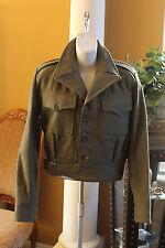 Battle Dress  Wool Coat Jacket Women's Size 9 Army Military - Uniform 1953 GREEN
