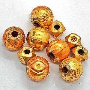 10 Post Medieval Metal European Beads With Thin Gold Gilding - Circa 1600-1800's