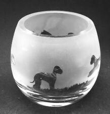 More details for bedlington terrier boxed crystal glass tea light holder