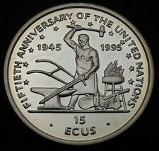 ISLE OF MAN 15 Ecus 1995 Proof - Silver - United Nations - 958