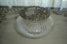 Rawcliffe Pewter Trinket Box Swirled Ridged Glass Base 1995  Top is Signed