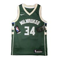 Nike NBA Milwaukee Bucks Icon Green Jersey #34 ANTETOKOUNMPO Youth S Women's 8