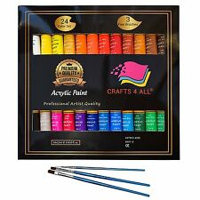 Acrylic Paint 24 Colors Color Art Set Paints Lot Supplies Canvas Crafts Fabric