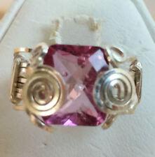 4 Carat Oval Pink Quartz SSF Ring Sz 5.5 Handmade