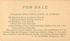 """For Sale: Complete Post Office Outfit"", G.W. Gunther, Wapakoneta, Ohio"