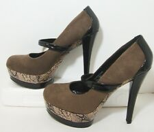 Mary Jane Sexy Platform Snakeskin Trim Patent Heels Womens 9 Call it Spring