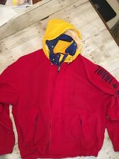 Vintage Mens TOMMY HILFIGER Jacket Adult 2XL XXL Colorblock SpellOut W/Hood