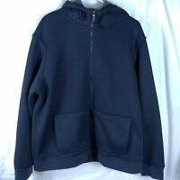 Hickey Freeman Navy Blue Knit Full Zip Hoodie Jacket Sherpa Lined Mens XXL NWOT