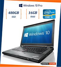 """Pc portatile notebook usato ricondizionato RAM 16GB SSD 480GB 14"""" Lenovo T430 i5"""