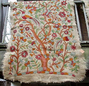 """90+ Yr Old Namda Felted Wool Embroidered Bed Rug Tree of Life Kashmir 46"""" x 68"""""""