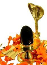 Shaligram Shiva Lingam Shivling Statue Hindu Puja Brass Stand 5.3 Inches Gold