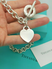 "Tiffany & Co. Sterling Silver Heart Tag Toggle Choker 16"" Necklace, Receipt !"