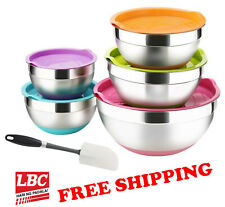 Mixing bowl mix bowl + spatula stainless silicone base 5PC set not pyrex corelle