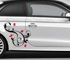 Farfalla Adesivi Auto Decalcomanie In Vinile Grafica Personalizzata x 2 - 16 scelte di colore