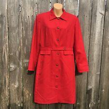 HARVE BENARD Women's Size 8 100% WOOL Red Coat Dress Vintage Style Long Sleeve