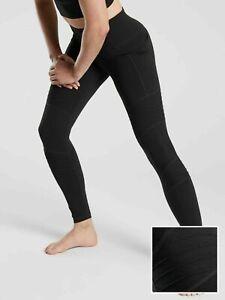 ATHLETA Inclination Moto Tight Leggings L TALL LT Black YOGA #490560
